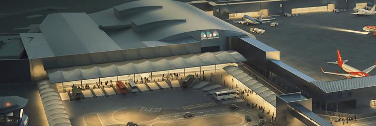 aeropuerto gestionado por aena al atardecer, del blog de morarte logistics